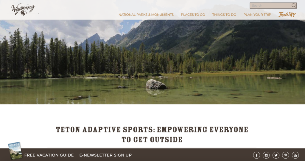 TAS Featured on Wyoming Tourism Website